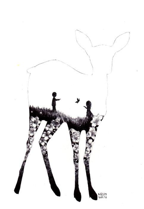 Drawing Inside Deer Outline Mixed Media Pinterest Deer I Love