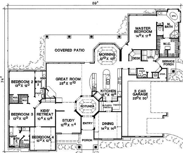 I want a 1 story 4 bedroom house with 2 extra rooms for library/study and game room.... so many wants