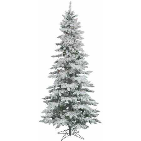vickerman pre lit 9 flocked slim utica fir artificial christmas tree led multicolor lights white firs christmas tree and walmart - Flocked Christmas Tree Walmart