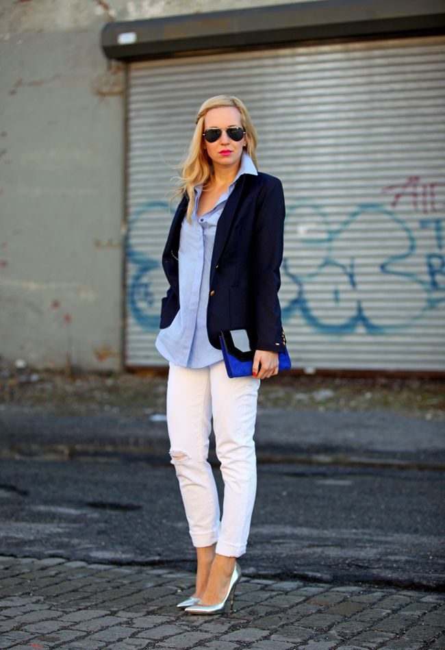 White Jeans Chambray Shirt Cobalt Clutch Silver