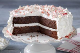 Chocolate-Candy Cane Cake recipe - Frosted with fluffy whipped topping, this chocolate cake is moist with chocolate pudding and pepperminty with crushed candy canes.