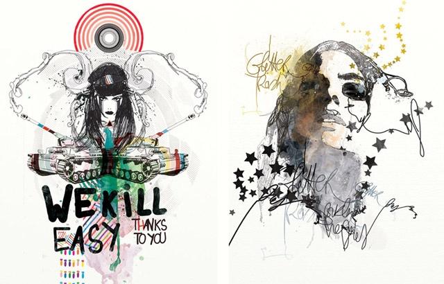 Mixed media, inky illustrations.
