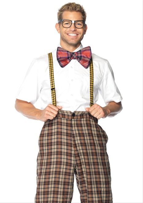 Nerdy Ned Men's Costume - This is a funny Nerdy Ned costume. This would be perfect for a Revenge of the Nerds costume. This is a four-piece costume with pants, suspenders, a bowtie and glasses. The pants are plaid with a high waist that is elasticized in the back. The front of the pants has a zipper and a buttonhole. The bottoms of the pants are shorter than usual so it looks like the pants are too small. #nerd #mens #costume #yyc #calgary #funny