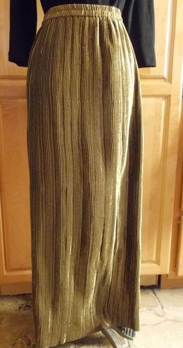Jeanne Marc s 8 10 Knife Pleated Skirt Long Tube Bronze