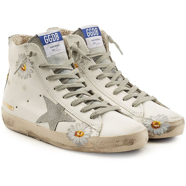 Golden Goose Deluxe Brand Francy Leather Printed High-Top Sneakers ($440) ❤ liked on Polyvore featuring shoes, sneakers, white, high-top sneakers, white leather shoes, leather sneakers, white hi top sneakers and white leather high tops