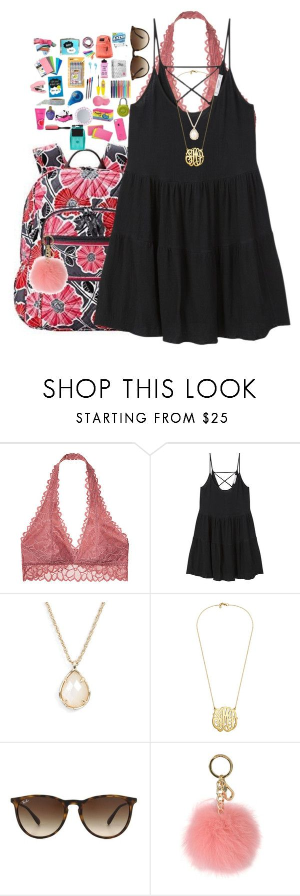 """""""what's in my backpack?"""" by southernsophia ❤ liked on Polyvore featuring Vera Bradley, Victoria's Secret, MANGO, Kendra Scott, Ray-Ban and MICHAEL Michael Kors"""
