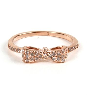 // Rose Gold Mini Bow Ring