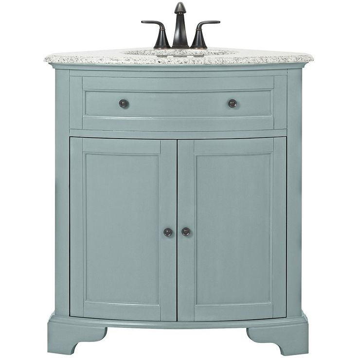 Home Decorators Collection Hamitlon 31 in. W Corner Vanity in Sea Glass with Granite Vanity Top in Grey and White Basin