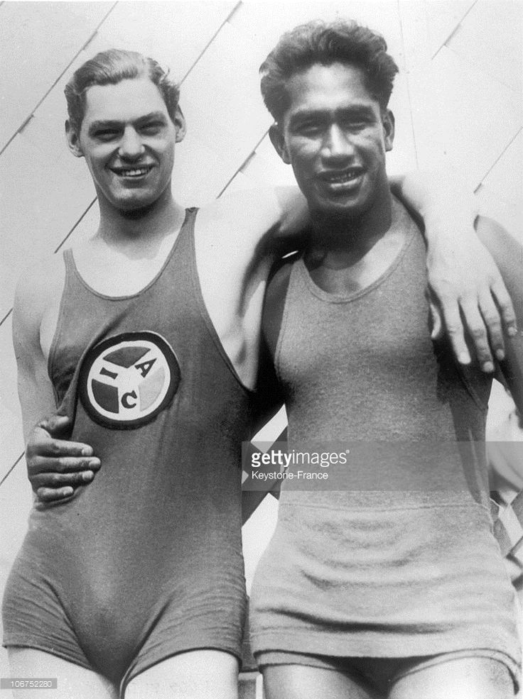The Swimming Champions Johnny Weissmuller And Duke Kahanamoku In Swimsuits Around 1924.