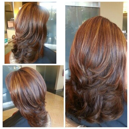 Medium Length Hair Cut With Layers Blown Out With Big Round Brush