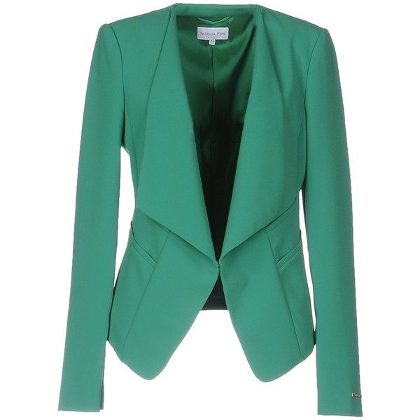 Patrizia Pepe Blazer (975 RON) ❤ liked on Polyvore featuring outerwear, jackets, blazers, light green, long sleeve jacket, multi pocket jacket, green blazer jacket, green jacket and patrizia pepe blazer