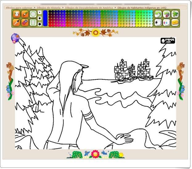 """Día del Descubrimiento de América (12 de octubre): """"Dibujos para pintar"""""""