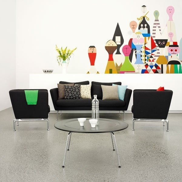 Black Cozy Modern Living Room Ideas Design With Beautiful Sofas From Vitra