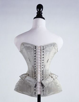 Blue silk corset, back: 19th century. Made especially for display at the Great Exhibition of 1851.