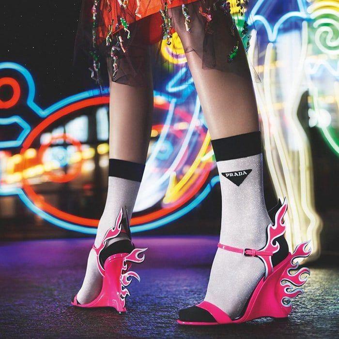 pink prada flame shoes