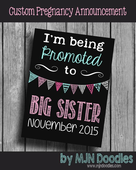 Pregnancy Announcement - Sibling Announcement - Big Sister or Big Brother - Photo Prop - Digital File - Promoted to Big Sister-Gender Reveal