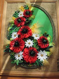 Obrazy z kwiatami Kanzashi - Rękodzieło