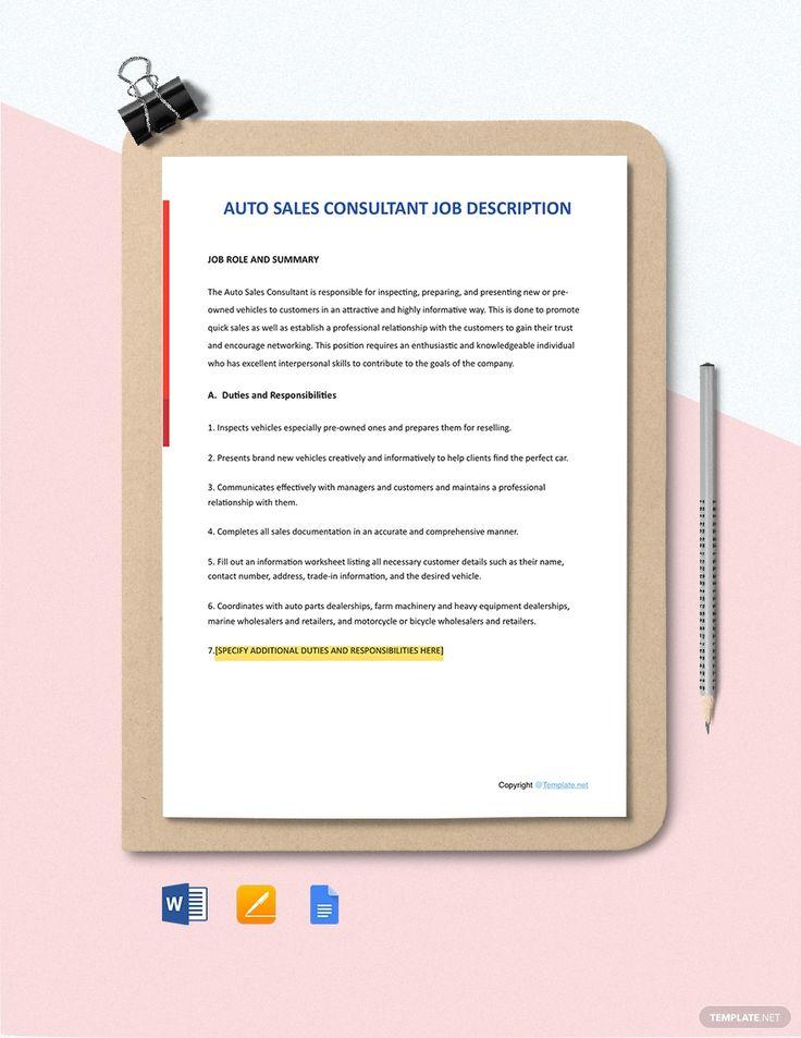 Free Auto Sales Consultant Job Description Template AD