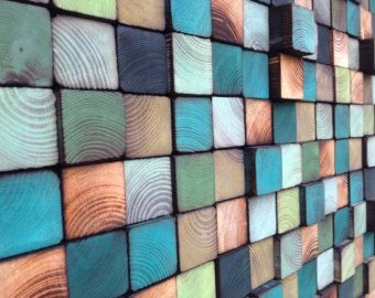 Abstract Acrylic Painting on Wood Reclaimed Wood by WallWooden