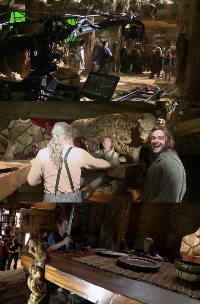 Behind the scenes of The Hobbit. I love Kili's smile, is he always happy? :)