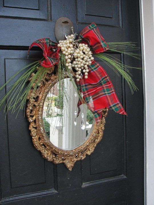 Mirror as wreath...this would be cute on a bathroom door, or by an entrance. of course change it to match anything. great idea!!!