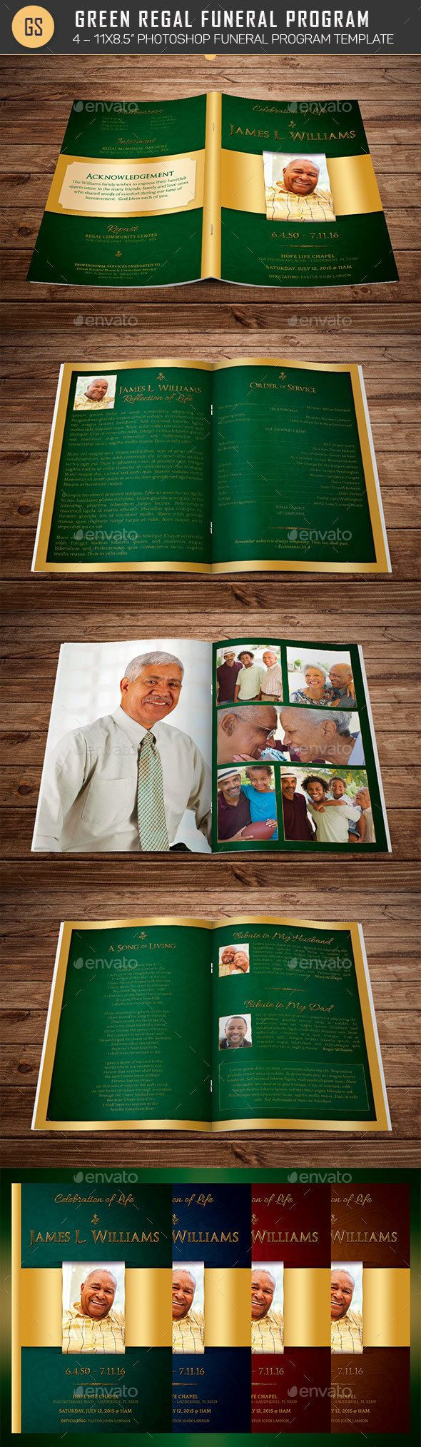 Green Regal Funeral Program Template — InDesign INDD #women #church • Available here → https://graphicriver.net/item/green-regal-funeral-program-template/20604577?ref=pxcr