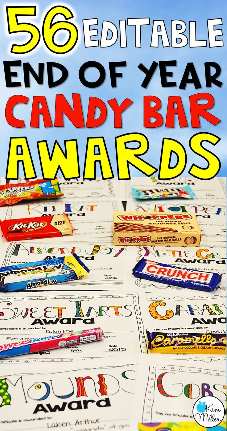 Editable Classroom Awards for End of the Year - 56 Candy Bar Awards to choose from!