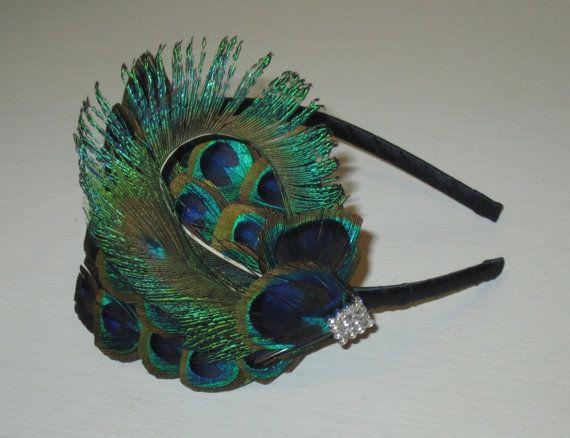 PEACOCK EYE Feather Silver Headband Crystal Handmade Turquoise Blue Green Feather Fascinator Wedding Bridesmaids Bridal Hair Accessory