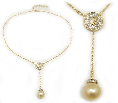 Golden South Sea Pearl Lariat Necklace with Diamonds