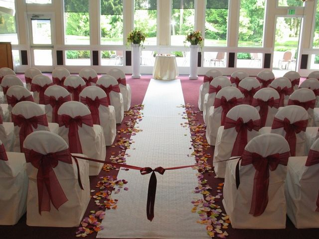 Chair covers make a great impression on all guests at your wedding ceremony & reception. The best thing about chair covers is you can color coordinate their bows with the color scheme of your w...
