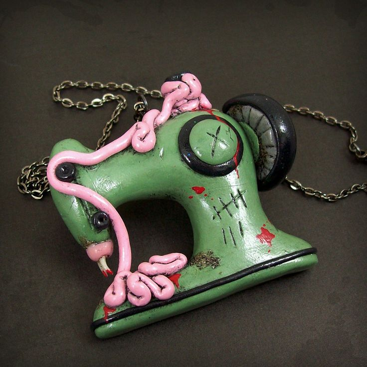 Zombie Sewing Machine Necklace by *beatblack on deviantART