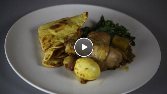 okjes van 2 bij 2 cm. Bak de kippen in een braadpan in olie goudbruin op laag vuur. Blancheer de kousenband. Haal de kip uit de pan en zet dit apart. Verhit...