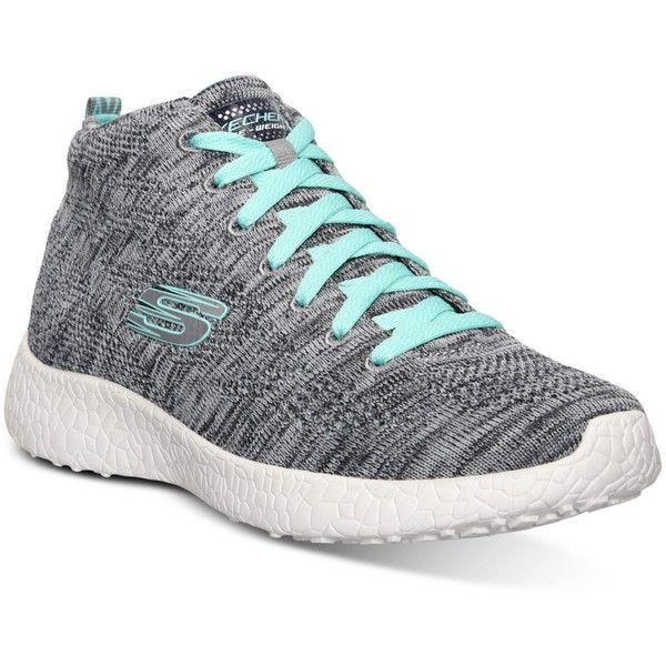 Skechers Women's Burst Chukka Flat Knit Running Sneakers from Finish... ($50) ❤ liked on Polyvore featuring shoes, sneakers, grey, skechers shoes, breathable sneakers, breathable shoes, knit shoes and skechers footwear
