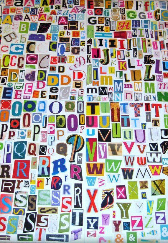Multicolor Set 2 Printable Digital Alphabet A To Z Magazine Etsy Lettre A Imprimable Collage