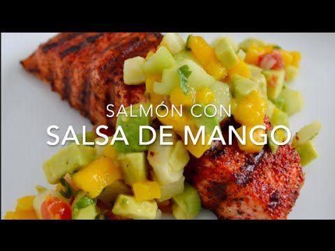 Salmón al chile con ensalada de mango