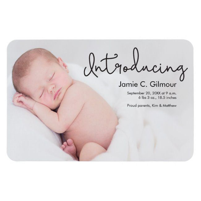 Modern Introducing Baby Photo Birth Announcement Magnet Zazzle Com In 2020 Birth Announcement Photos Baby Announcement Photos Baby Announcement Cards