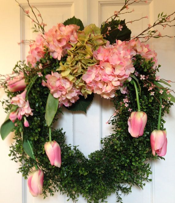 Spring+Wreath+Pink+Hydrangeas+Pink+Tulips+by+CelebrateAndDecorate,+$164.50