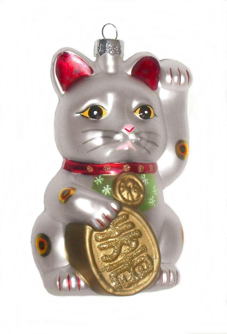 Glass cat ornaments - Maneki