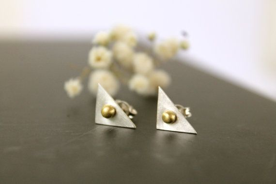 Bronze & Sterling Silver 925 Tiny Triangle Stud Earrings Minimal