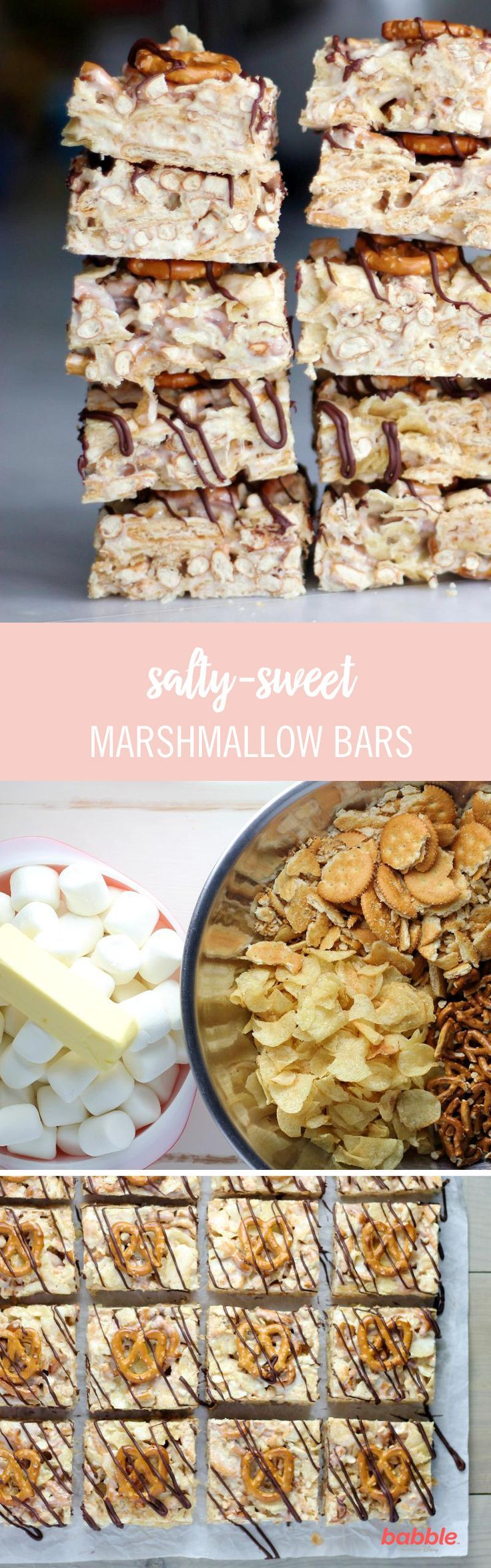 Instead of the usual rice krispies, these salty-sweet marshmallow bars are filled with your favorite mix-ins, like salty potato chips, crunchy pretzels, and delicious crackers. These treats don't need to be baked, so dig right in! Click here for the dessert recipe.