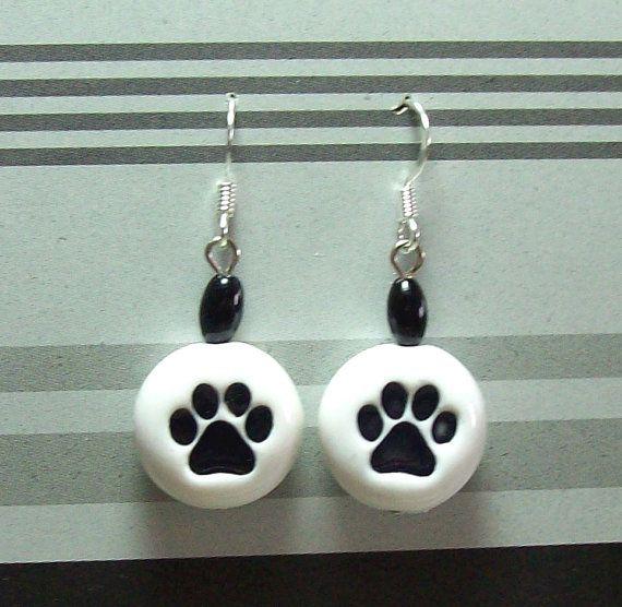 Paw Print Bead Earrings  Handmade Polymer Clay Beads by MyStudio91, $8.00