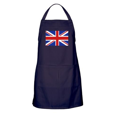 """Union Jack Apron (dark)  $20.99    http://www.cafepress.com/britshop.623403003    Spice up conversations in the kitchen or around the BBQ with this tasty-looking apron. Made of high-quality cotton twill, it's rugged and wears great too. Ideal for cooking, baking, grilling or bartending. Two generous pockets hold utensils and more.    - 31"""" long & 29"""" wide  - 100% heavy cotton twill  - Machine washable"""