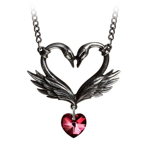 The Black Swan Romance Pendant Necklace Alchemy Gothic Pewter Jewelry P773