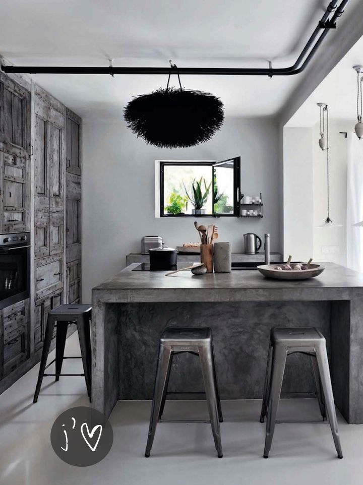 contemporary kitchen with exposed pipes, weathered gray wood repurposed window shutters and concrete - cool - gray fun and oh, so fabulous