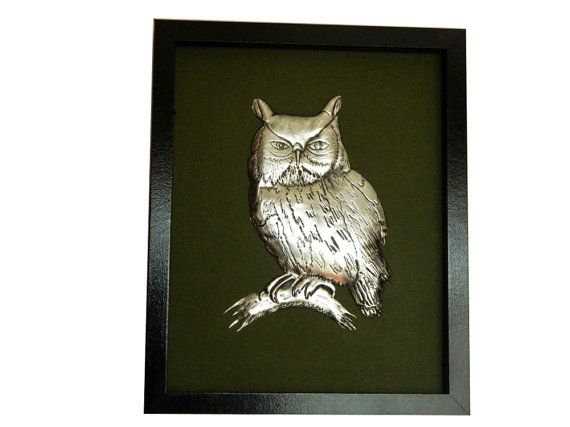 Metal Sculpture Pewter Owl Framed Wall Hanging by Loutul on Etsy, £29.00