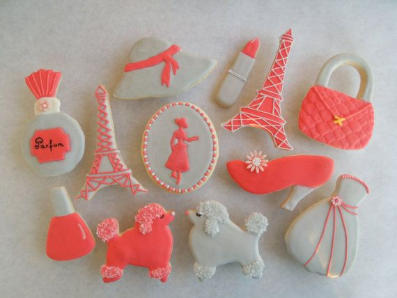 Paris theme decorated iced sugar by MarianneofFranceLLC on Etsy