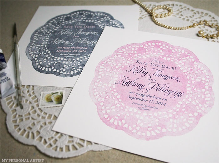 Vintage Doily Watercolor Save The Dates By Artist Michelle