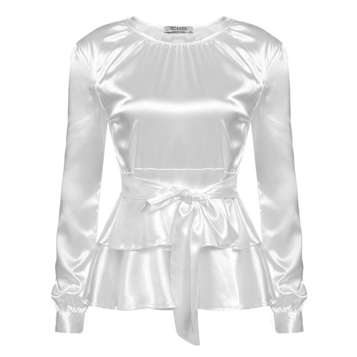 Women Blouses Pleated Layered Ruffles Top With A Bow, White, Pink
