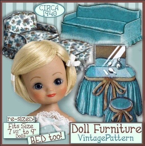 """FUN FURNITURE to make for GINNY DOLL (or other 7-9"""" dolls)  Bed, Loveseat, Couch, Chair, Ottoman, Footstool, Vanity, Stool, & Crib!  Original Pattern re-sized to fit these dolls!  Just $3.99 at eVINTAGEpatterns on etsy!"""