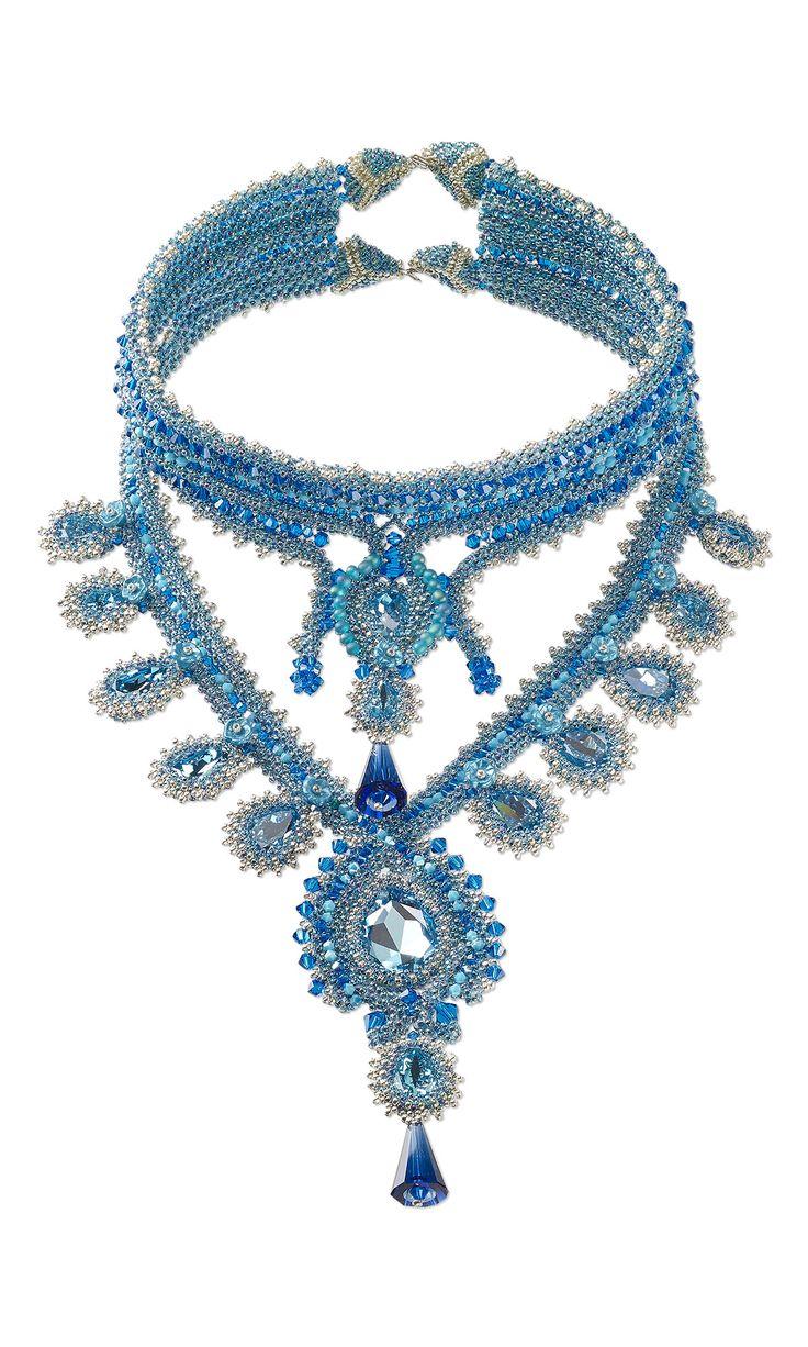 "Fire Mountain Gems and Beads' 2015 Swarovski Contest Finalist  ""Caribbean Sea"" by Sabrina Milardi  #diyjewelrymaking #beadingcontest #jewelrymakingcontest"
